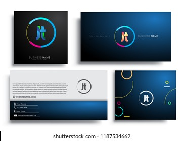 Letter JT logotype with colorful circle, letter combination logo design with ring, sets of business card for company identity, creative industry, web, isolated on white background.