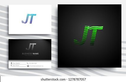 Letter JT logotype with colorful circle, with striped composition letter, sets of business card for company identity, creative industry, web.