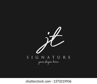 Letter JT Signature Logo Template - Vector