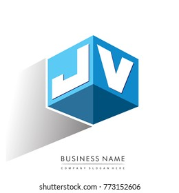 Letter JV logo in hexagon shape and blue background, cube logo with letter design for company identity.