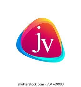 Letter JV logo in triangle shape and colorful background, letter combination logo design for company identity.