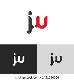 Letter jw linked lowercase logo design template elements. Red letter Isolated on black white grey background. Suitable for business, consulting group company.