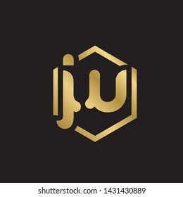 Letter jw linked lowercase logo design template elements. Gold letter Isolated on black  background. Suitable for business, consulting group company.