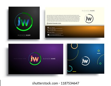 Letter JW logotype with colorful circle, letter combination logo design with ring, sets of business card for company identity, creative industry, web, isolated on white background.