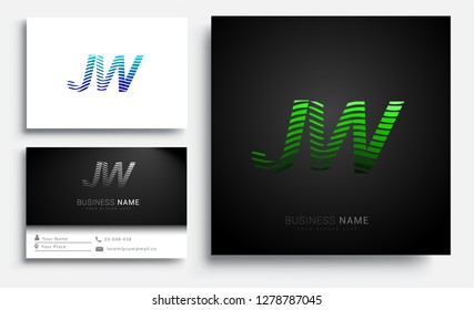 Letter JW logotype with colorful circle, with striped composition letter, sets of business card for company identity, creative industry, web.