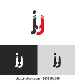 Letter jy linked lowercase logo design template elements. Red letter Isolated on black white grey background. Suitable for business, consulting group company.