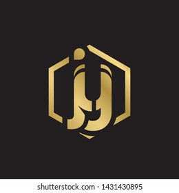 Letter jy linked lowercase logo design template elements. Gold letter Isolated on black  background. Suitable for business, consulting group company.