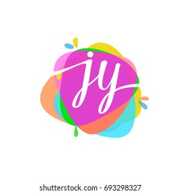 Letter JY logo with colorful splash background, letter combination logo design for creative industry, web, business and company.