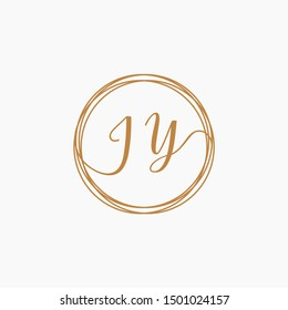Letter JY logo template, Creative fashion logo design, couple letter , wedding concept -vector
