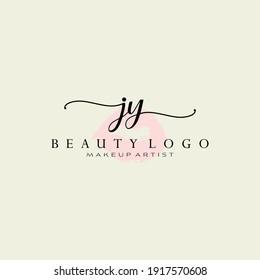 Letter JY Watercolor Lips Premade Logo Design, Logo for Makeup Artist Business Branding, Blush Beauty Boutique Logo Design, Calligraphy Logo