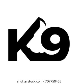 letter K and 9 vector logo. Canine vector logo.