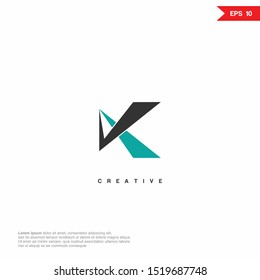 Letter K Abstract Logo icon. Premium Line Alphabet Monochrome Monogram emblem. Vector graphic design template element. Graphic Symbol for Corporate Business Identity.