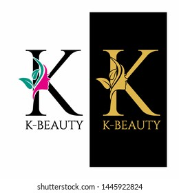 Letter K Beauty Logo Spa Nature Salon Skincare
