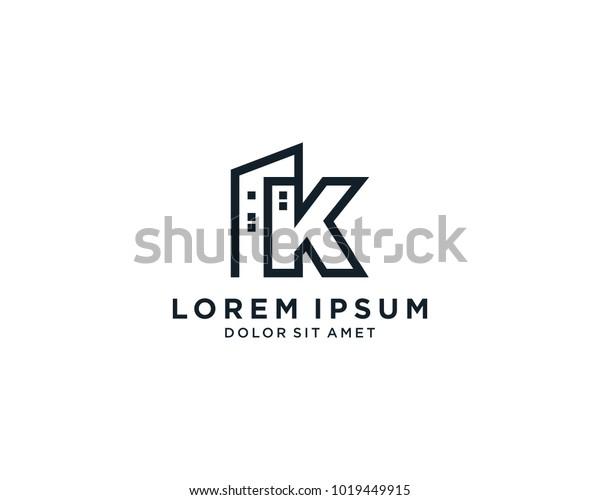 Letter K Building Construction Company Logo Stock Vector