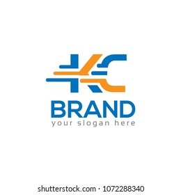 Letter K and C on White background. logo has the impression fast and reliable. Logo Design Template.