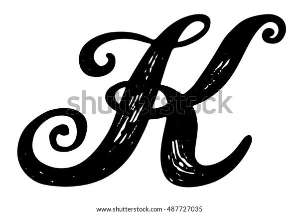 Letter K Calligraphy Alphabet Typeset Lettering Stock Vector