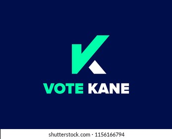Letter K with Check Mark. Graphic symbol for the election campaign. Vote sign with letter K. Vector logo for presidential or mayor candidate