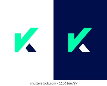 Letter K with Check Mark. Graphic symbol for the election campaign. Agree / Approve sign with letter K. Vector logo for presidential or mayor candidate