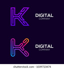 Letter K Colorful logotype with Three Line, Square and Circle shape Maze Labyrinth, Technology and Digital Connection Link concept for your Corporate identity