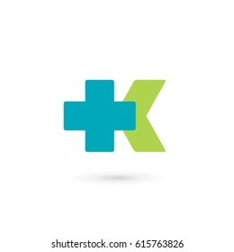 Letter K cross plus medical logo icon design template elements