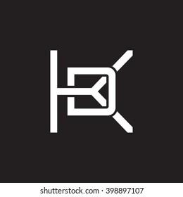 letter K and D monogram logo white black background