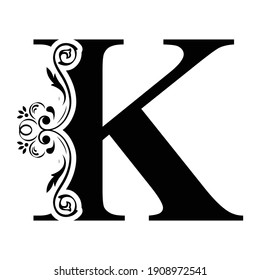 letter K. flower  letters. Vintage ornament initial Alphabet. Logo vector