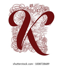 Letter K with flowers. Hand drawn vector illustration.