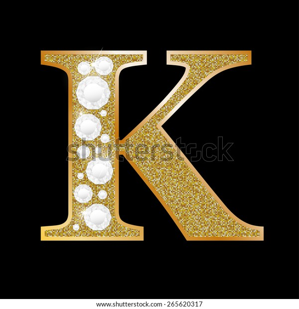 480e7296c94 Letter K Gold Diamond Stock Vector (Royalty Free) 265620317