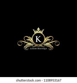 Letter K Gold Queen Luxury Design Logo