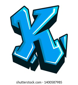 Letter K graffity blue colour. It can be used as logo or initial