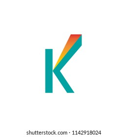 Letter K icon growth symbol with arrow extended vertically