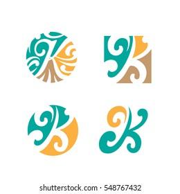 Letter K Icon, Logo, Ornament, Modification, flourish Design