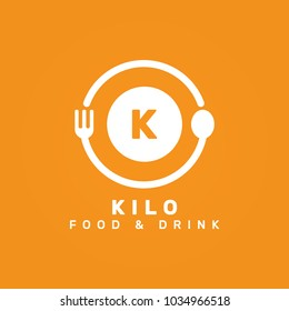 Letter K Initial, food and restaurant logo,vector logo template