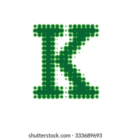 Letter K of the latin alphabet in a halftone dot newsprint style.
