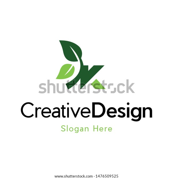 Letter K Leaf Naturally Creative Logo Stock Vector Royalty