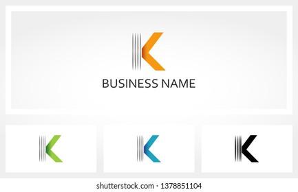 Letter K Line Stripe Logo