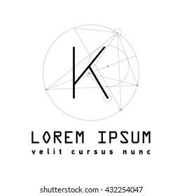 Letter K Logo . Alphabet design element . Geometric ABC concept type as logotype. Typography icon line art. Moden. Hipster font