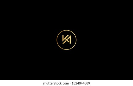 LETTER K AND A LOGO WITH CIRCLE FRAME FOR LOGO DESIGN OR ILLUSTRATION USE