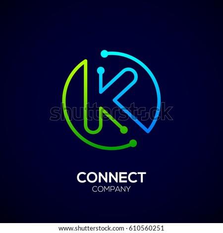 Letter K logo, Circle shape symbol, green and blue color, Technology and digital