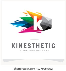 Letter K Logo Design with Colorful Polygon Comet, Logo Design Template Inspiration, App Icon Design
