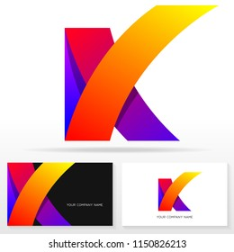 Letter K logo icon design template. Business card templates. Vector illustration.