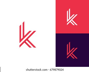 Letter K logo icon design template. Trendy Minimal Monogram emblem design concept. Graphic Alphabet Symbol for Corporate Business Identity. Creative Vector element