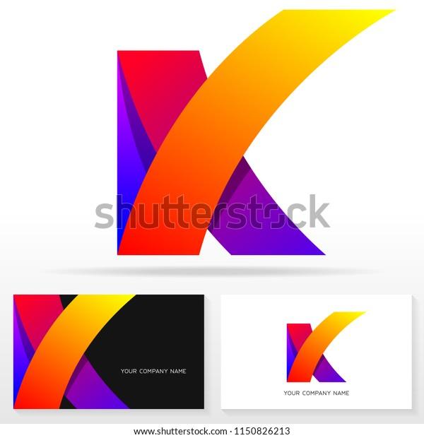 Buchstabe K Symbol Design Vorlage Visitenkarten Vorlagen