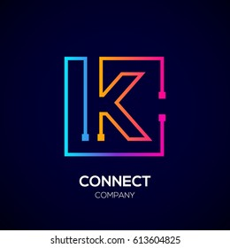 Letter K logo, Square shape, Colorful, Technology and digital abstract dot connection