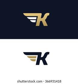 Letter K logo template. Wings design element vector illustration. Corporate branding identity