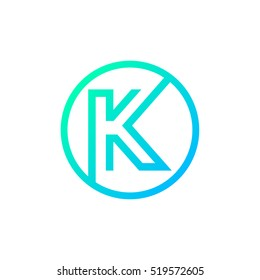 Letter K logo,Circle shape symbol,Digital,Technology,Media