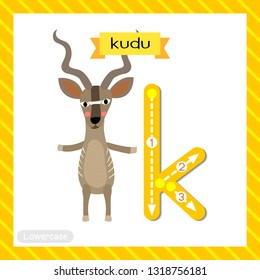 Letter K lowercase cute children colorful zoo and animals ABC alphabet tracing flashcard of Kudu standing on two legs for kids learning English vocabulary and handwriting vector illustration.