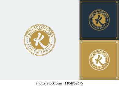 letter K Luxury monogram logo template vector illustration