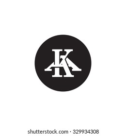 letter A and K monogram circle logo