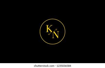 LETTER K AND N FLOWER LOGO WITH CIRCLE FRAME FOR LOGO DESIGN OR ILLUSTRATION USE